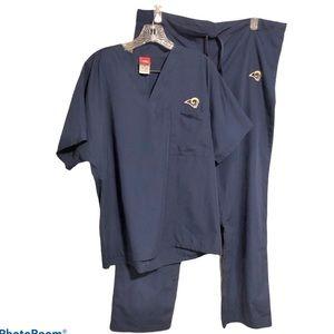 NFL St Louis Rams Scrub Set Womens Medium Blue